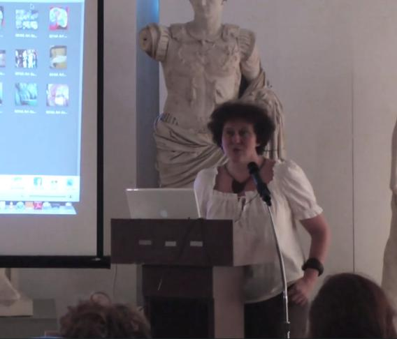 Isabelle Bonzom giving a talk at the New York Academy of Art